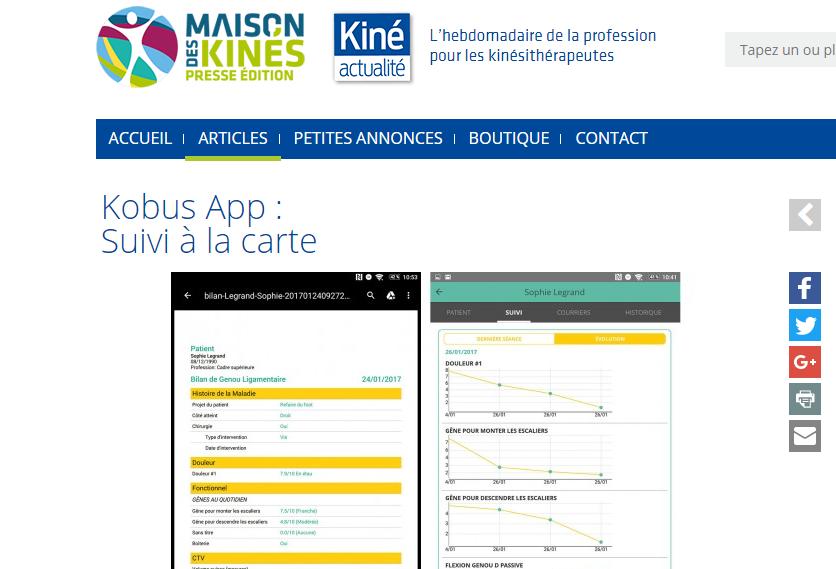 Kobus app - Kiné actu