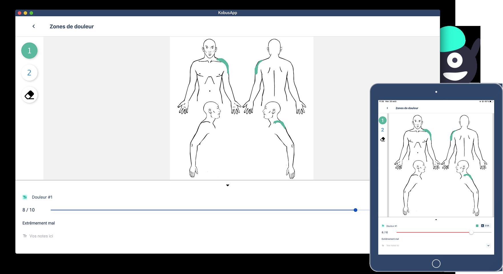Schéma du corps humain pour dessin de la douleur